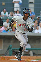 L.J. Hoes #28 of the Frederick Keys at bat during a game against the Myrtle Beach Pelicans on May 1, 2010 in Myrtle Beach, SC.