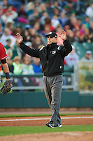 Umpire Brock Ballou calls time during a game between the Great Lakes Loons and Dayton Dragons on May 21, 2015 at Fifth Third Field in Dayton, Ohio.  Great Lakes defeated Dayton 4-3.  (Mike Janes/Four Seam Images)