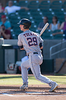 Mesa Solar Sox left fielder Kyle Tucker (29) of the Houston Astros organization, at bat during an Arizona Fall League game against the Salt River Rafters on October 30, 2017 at Salt River Fields at Talking Stick in Scottsdale, Arizona. The Solar Sox defeated the Rafters 8-4. (Zachary Lucy/Four Seam Images)