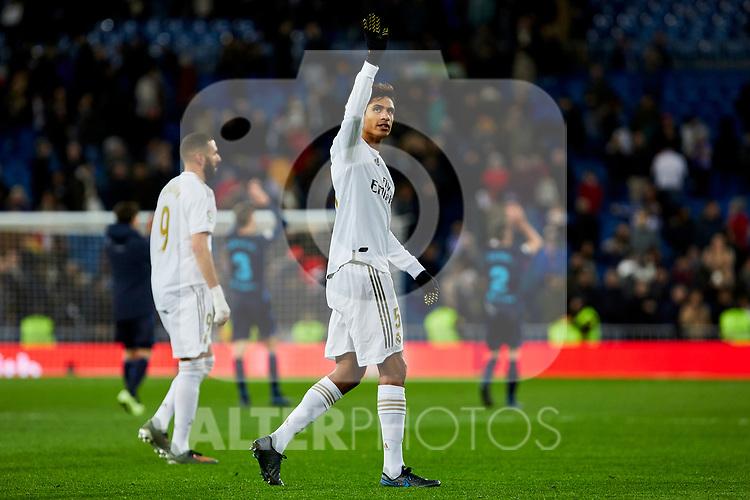 Raphael Varane of Real Madrid celebrate the victory after La Liga match between Real Madrid and Real Sociedad at Santiago Bernabeu Stadium in Madrid, Spain. November 23, 2019. (ALTERPHOTOS/A. Perez Meca)