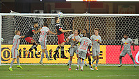 WASHINGTON, DC - SEPTEMBER 12: Frederic Brilliant #13 of D.C. United heads the ball during a game between New York Red Bulls and D.C. United at Audi Field on September 12, 2020 in Washington, DC.