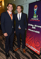 James Bannatyne and Ivan Vicelich. Official Draw for the FIFA U 20 Football World Cup, New Zealand 2015. Sky City, Auckland. Tuesday 10 February 2015. Copyright photo: Andrew Cornaga / www.photosport.co.nz