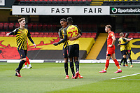 Joao Pedro (10) of Watford (2nd left) celebrates with James Garner (16) (on loan from Man Utd) of Watford (left) and Ismaila Sarr (23) of Watford (3rd left) after he scores the opening goal during the Sky Bet Championship match between Watford and Luton Town at Vicarage Road, Watford, England on 26 September 2020. Photo by David Horn.