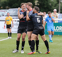 Ben Hellewell of London Broncos (centre) celebrates after he scores his 3rd (hat trick) try of the game during the Kingstone Press Championship match between London Broncos and Sheffield Eagles at Castle Bar , West Ealing , England  on 9 July 2017. Photo by David Horn.