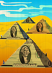 Businessmen climbing on steps of money pyramid