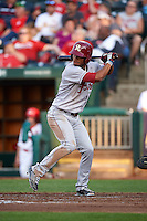 Frisco RoughRiders outfielder Nick Williams (1) at bat during a game against the Springfield Cardinals  on June 4, 2015 at Hammons Field in Springfield, Missouri.  Frisco defeated Springfield 8-7.  (Mike Janes/Four Seam Images)
