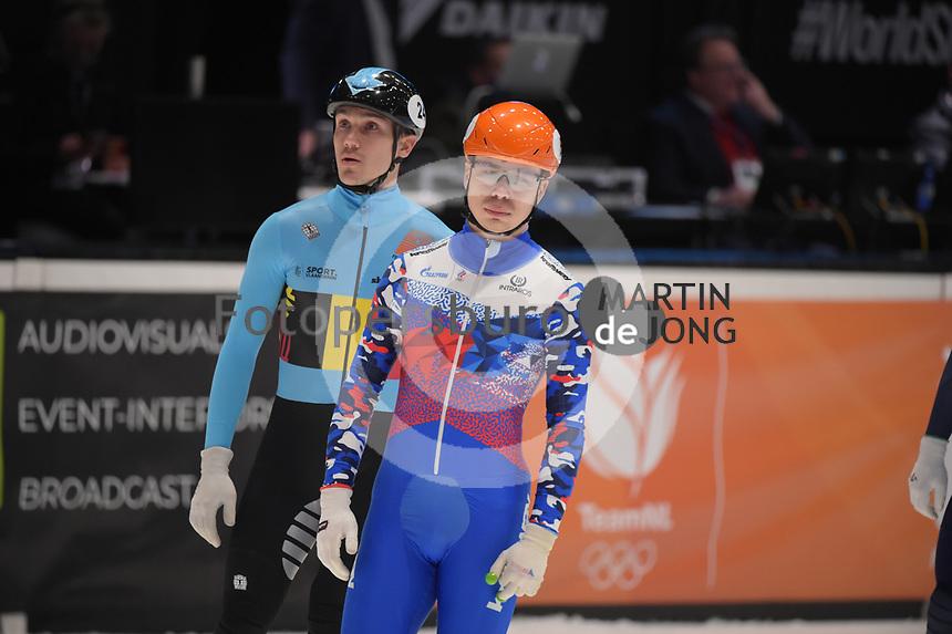 SPEEDSKATING: DORDRECHT: 06-03-2021, ISU World Short Track Speedskating Championships, SF 500m Men, Stijn Desmet (BEL), Semen Elistratov (RSU), ©photo Martin de Jong