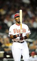 Apr. 11, 2011; Phoenix, AZ, USA; Arizona Diamondbacks outfielder Justin Upton against the St. Louis Cardinals at Chase Field. Mandatory Credit: Mark J. Rebilas-