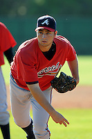Pitcher Andrew Thurman (96) of the Atlanta Braves farm system in a Minor League Spring Training workout on Tuesday, March 17, 2015, at the ESPN Wide World of Sports Complex in Lake Buena Vista, Florida. (Tom Priddy/Four Seam Images)