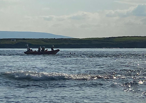 Sligo Bay RNLI's volunteers approach the two swimmers in distress on their inshore lifeboat