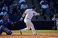 New York Yankees Josh Thole (30) bats during a Spring Training game against the Toronto Blue Jays on February 22, 2020 at the George M. Steinbrenner Field in Tampa, Florida.  (Mike Janes/Four Seam Images)