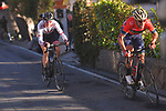 Vincenzo Nibali (ITA) Bahrain-Merida attacks with Krists Neilands (LAT) Israel Cycling Academy on the Poggio di Sanremo during the 109th edition of Milan-Sanremo 2018 running 294km from Milan to Sanremo, Italy. 17th March 2018.<br /> Picture: LaPresse/POOL Tim De Waele| Cyclefile<br /> <br /> <br /> All photos usage must carry mandatory copyright credit (© Cyclefile | LaPresse/POOL Tim De Waele)