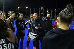 NZ head coach Graham Shaw talks to his team during the Sentinel Homes Trans Tasman Series hockey match between the New Zealand Black Sticks Women and the Australian Hockeyroos at Massey University Hockey Turf in Palmerston North, New Zealand on Tuesday, 1 June 2021. Photo: Dave Lintott / lintottphoto.co.nz