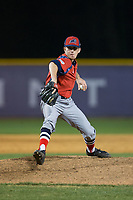 NJIT Highlanders relief pitcher Chris Gibbons (31) in action against the High Point Panthers during game two of a double-header at Williard Stadium on February 18, 2017 in High Point, North Carolina.  The Highlanders defeated the Panthers 4-2.  (Brian Westerholt/Four Seam Images)
