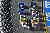 #11: Denny Hamlin, Joe Gibbs Racing, Toyota Camry FedEx Express and #18: Kyle Busch, Joe Gibbs Racing, Toyota Camry M&M's Chocolate Bar restart