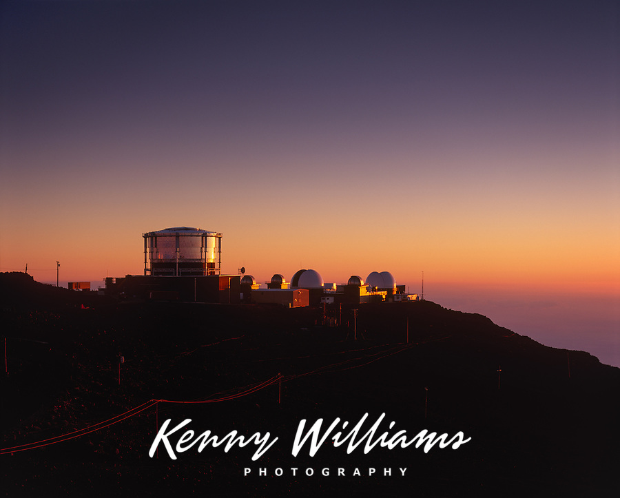 Space Telescopes, Haleakala High Altitude Observatory Site at Twilight, Institute for Astronomy,  University of Hawaii, Maui, USA.