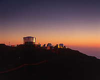 Space Telescopes, Haleakala High Altitude Observatory Site at Twilight, Institute for Astronomy,  University of Hawaii, Maui, USA.