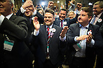 © Joel Goodman - 07973 332324 . 24/06/2016 . Manchester , UK . Brexit supporters applaud as the national result is announced at the declaration in the EU referendum at Manchester Town Hall . Photo credit : Joel Goodman
