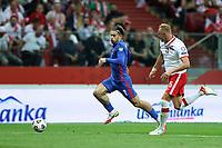 8th September 2021; PGE National Stadium, Warsaw, Poland: FIFA World Cup 2022 Football qualification, Poland versus England;  JACK GREALISH goes past KAMIL GLIK