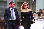 Rich Beem and his wife Sarah walk the Red Carpet event at the World Celebrity Pro-Am 2016 Mission Hills China Golf Tournament on 20 October 2016, in Haikou, China. Photo by Victor Fraile / Power Sport Images