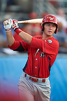 Williamsport Crosscutters third baseman Mitch Walding #25 during a NY-Penn League game against the Batavia Muckdogs at Dwyer Stadium on August 24, 2012 in Batavia, New York.  Williamsport defeated Batavia 7-4.  (Mike Janes/Four Seam Images)