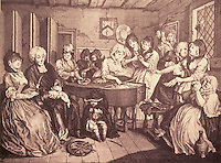 William Hogarth:  A  Harlot's Progress, Plate 6.  Reference only.