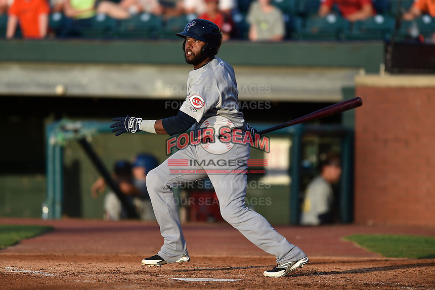 Pensacola Blue Wahoos designated hitter Rey Navarro #1 swings at a pitch during the Southern League All Star game at AT&T Field on June 17, 2014 in Chattanooga, Tennessee. The Southern Division defeated the Northern Division 6-4. (Tony Farlow/Four Seam Images)