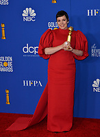 LOS ANGELES, USA. January 05, 2020: Olivia Colman in the press room at the 2020 Golden Globe Awards at the Beverly Hilton Hotel.<br /> Picture: Paul Smith/Featureflash