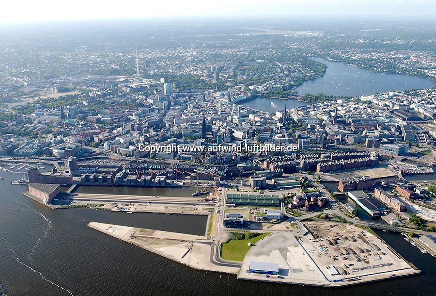 Deutschland, Hamburg, Hafencity, Stadtansicht, Alster, Speicherstadt, Hamburgs City und Hafencity