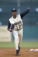 Francisco Trejo of the Lancaster JetHawks pitches during a California League 2002 season game at The Hanger, in Lancaster, California. (Larry Goren/Four Seam Images)
