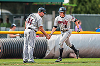 4 September 2017: Tri-City ValleyCats outfielder Jacob Meyers greets Manager Morgan Ensberg as he heads home after hitting his first professional career home run (the first of 3 for the day) during the first game of a double-header against the Vermont Lake Monsters at Centennial Field in Burlington, Vermont. The ValleyCats split their games, winning 6-5 in the first, then dropping the second 7-4 to the Lake Monsters in NY Penn League action. Mandatory Credit: Ed Wolfstein Photo *** RAW (NEF) Image File Available ***
