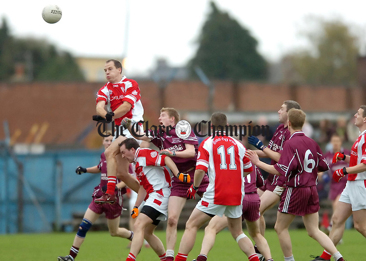 Eire Ogs Brian Frawley climbs highest against Lissycasey during the County Final at Cusack Park.Pic Arthur Ellis.