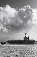 The USS John C Stennis at Pearl Harbor naval base, a aircraft carrier that is  nuclear-powered