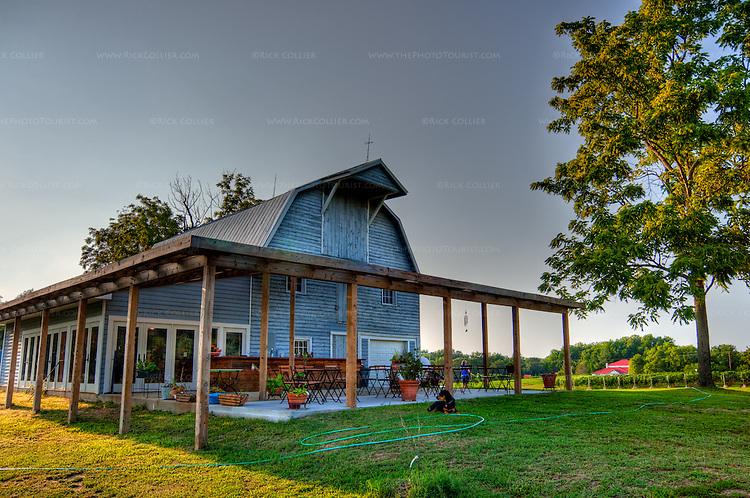 Shooting nearly into the late afternoon sun, I was challenged to capture the full dynamic range of the beautiful old barn, shaded patio, and surrounding lawns against the bright summer sky.  This is a high-dynamic range capture from nine orginal raw photo files.  (The Hague Winery, Hague VA)