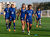 ORLANDO, FL - JANUARY 21: Crystal Dunn #19 of the USWNT warms up during a training session at the practice fields on January 21, 2021 in Orlando, Florida.