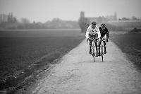 Paris-Roubaix 2013 RECON..Hugo Houle (CAN) & Yauheni Hutarovich (BLR) Roubaix recon.