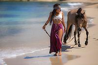 Daphne Vosberg and Taino and Pasofino horse<br /> El Gallito<br /> Vieques