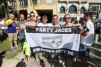 Valencia, Spain. Thursday 19 September 2013<br /> Pictured: Swansea supporters.<br /> Re: UEFA Europa League game against Valencia C.F v Swansea City FC, at the Estadio Mestalla, Spain,