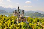 Schloss Neuschwanstein Castle near Fuessen, Ostallgaeu district, Allgaeu, Bavaria, Germany, Europe