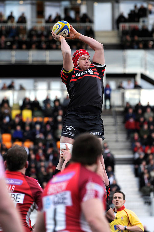 20130303 Copyright onEdition 2013©.Free for editorial use image, please credit: onEdition..Mouritz Botha of Saracens wins a clean lineout ball during the Premiership Rugby match between Saracens and London Welsh at Allianz Park on Sunday 3rd March 2013 (Photo by Rob Munro)..For press contacts contact: Sam Feasey at brandRapport on M: +44 (0)7717 757114 E: SFeasey@brand-rapport.com..If you require a higher resolution image or you have any other onEdition photographic enquiries, please contact onEdition on 0845 900 2 900 or email info@onEdition.com.This image is copyright onEdition 2013©..This image has been supplied by onEdition and must be credited onEdition. The author is asserting his full Moral rights in relation to the publication of this image. Rights for onward transmission of any image or file is not granted or implied. Changing or deleting Copyright information is illegal as specified in the Copyright, Design and Patents Act 1988. If you are in any way unsure of your right to publish this image please contact onEdition on 0845 900 2 900 or email info@onEdition.com
