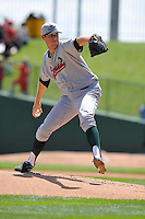 Jordan Hershiser #40 of the Great Lakes Loons pitches against the Peoria Chiefs at Dozer Park on July 28, 2014 in Peoria, Illinois. The Loons won 4-0.   (Dennis Hubbard/Four Seam Images)