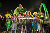 Imperatriz Leopolinense Samba School, Carnival, Rio de Janeiro, Brazil, 26th February 2017. The 'Beautiful Monster' - Belo Monstro - float. The Kayapo Indians are at the front of the float; from left: Beptirití Kayapó, Beptuk Metuktire, Raoni Metuktire, Megaron Txucarrhamãe, Bemoro Metuktire (mostly hidden) and Kreton Panará.