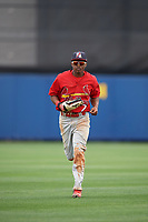 Palm Beach Cardinals center fielder Magneuris Sierra (7) jogs to the dugout during a game against the Charlotte Stone Crabs on April 12, 2017 at Charlotte Sports Park in Port Charlotte, Florida.  Palm Beach defeated Charlotte 8-7.  (Mike Janes/Four Seam Images)