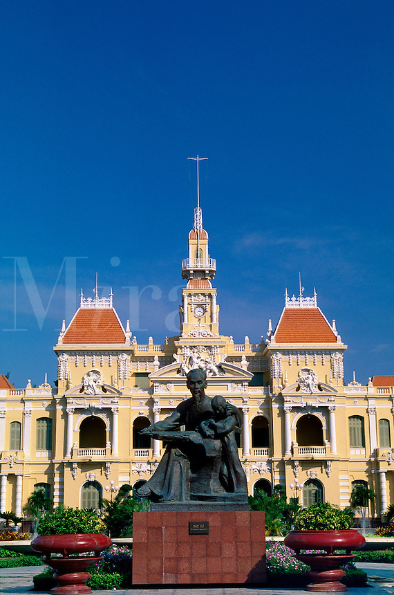 Ho Chi Minh statue and town hall Ho Chi Minh City Vietnam.