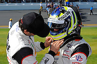 #6, Nissan, ORECA, P, Klaus Graf gets some help from teammate  Lucas Luhr