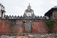A damaged temple after the earthquake in Kathmandu, Nepal