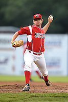 Batavia Muckdogs pitcher Christian MacDonald (39) delivers a pitch during a game against the Staten Island Yankees on August 7, 2014 at Dwyer Stadium in Batavia, New York.  Staten Island defeated Batavia 2-1.  (Mike Janes/Four Seam Images)