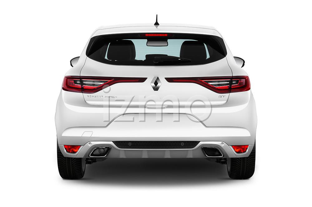 Straight rear view of a 2017 Renault Megane GT 5 Door Hatchback stock images