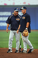 Brooklyn Cyclones Manager Wally Backman (6) gives infielder James Schroeder (12) some advice during first team workout at MCU Park in Brooklyn, NY June 15, 2010.  Photo By Tomasso DeRosa/Four Seam Images