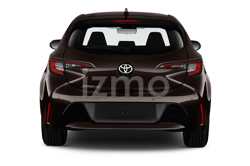 Straight rear view of a 2019 Toyota Corolla Dynamic 5 Door Hatchback stock images